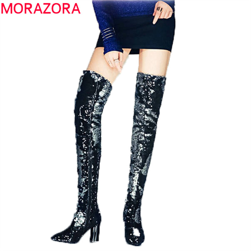 MORAZORA 2018 hot sale over the knee boots women pointed toe autumn winter long boots zip sequined cloth high heels shoes woman hot sale handmade flock black over the knee fashion boots pointed toe zip women boots square heels shoes woman