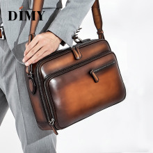 DIMY Italian Cow Leather Messenger Bags Men Calfskin Shoulder Bag Business Mens Briefcase Large-capacity Portable Laptop