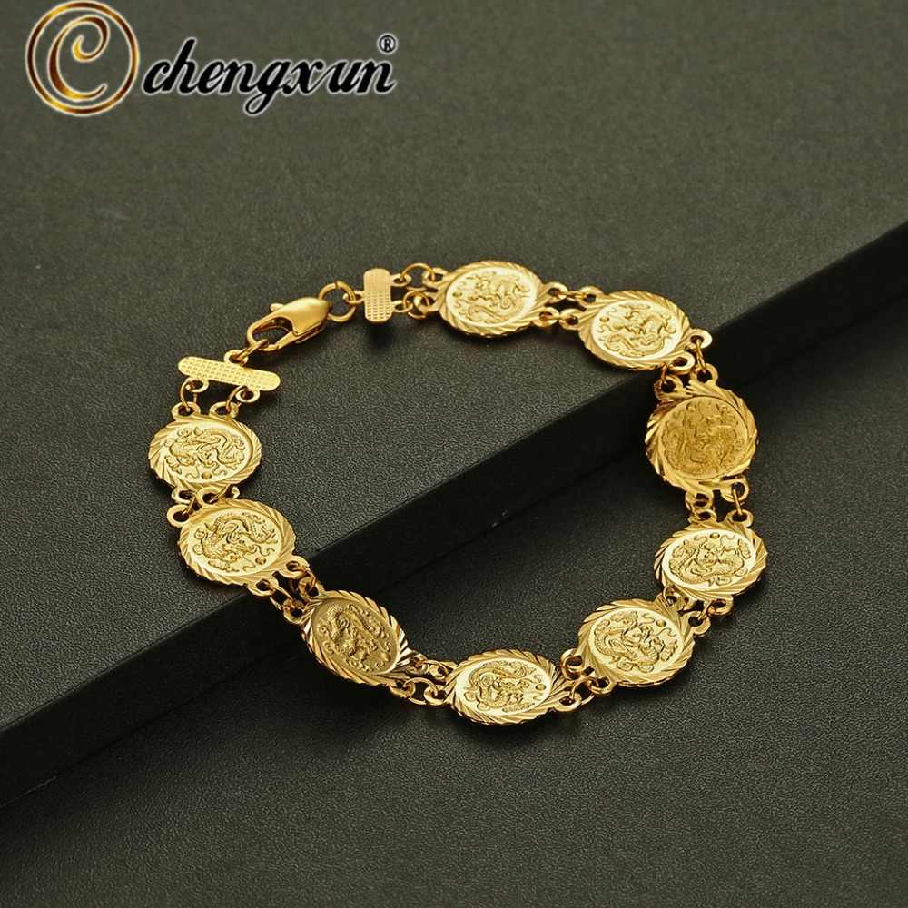 CHENGXUN Multiple Arab Metal Coin Bracelet for Women Men Gold Color Middle Eastern People Bangle Jewelry African Gift
