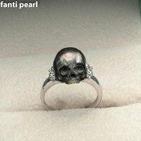 Шт. 1 шт., резное жемчужное кольцо с черепом, жемчужное кольцо tahiti мм, 11 13 мм, ручная работа