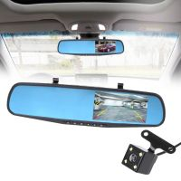 OOTDTY 4.3'' 1080P Dual Lens Car Auto DVR Mirror Dash Cam Recorder+Rear View Camera Kit