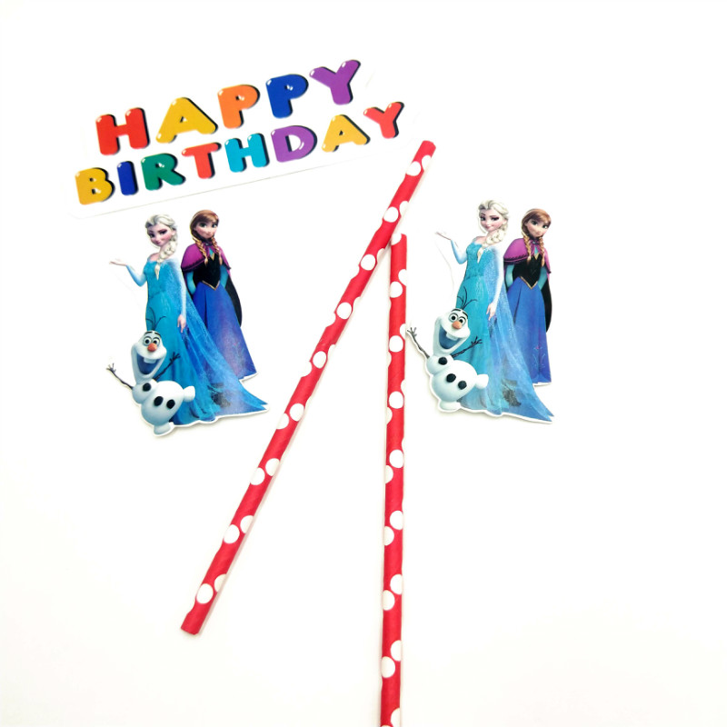 1pc Frozen Elsa And Anna Cupcake Toppers Cartoon Cake Flags With Paper Straw Birthday Christmas Party Decoration Supplies kid in Cake Decorating Supplies from Home Garden