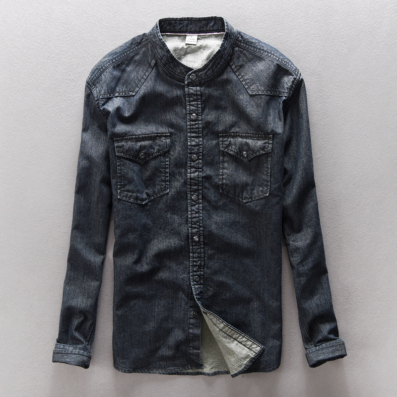 new fashion 2018 casual 368 cotton denim coat collar shirt summer fall wash water dark one undertakes ancient ways