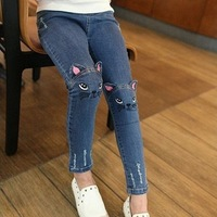 2017 демисезонная детская одежда повседневные джинсовые штаны, Джинсы для девочек с мультяшными рисунками