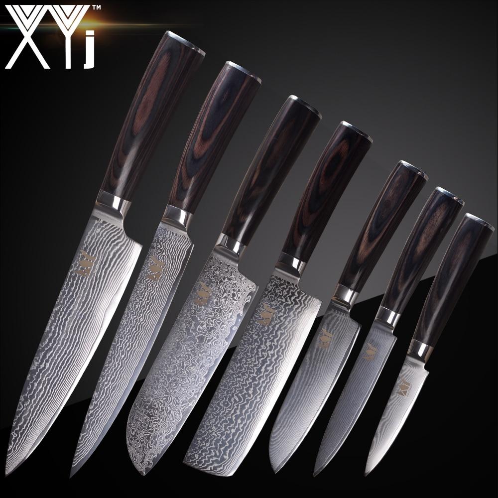 XYj In Acciaio di Damasco Coltello Da Cucina Coltelli Da Cucina Set ...