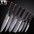 XYj juego de acero de Damasco cuchillo de cocina cuchillos de cocina conjunto de accesorios 73 capa japonés VG10 Damasco cuchillo de cocina herramientas Accesorios