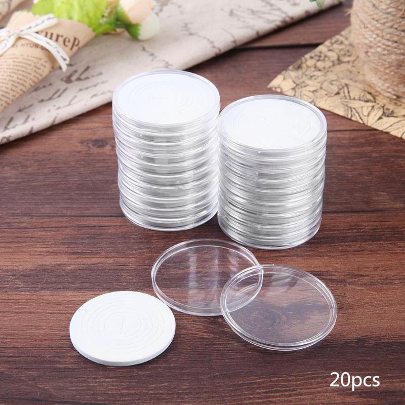 20 Pcs/Set Coin Storage Container Box 51mm Display Capsules Holder Round Ring Applied Clear Plastic Cases Collection Gifts