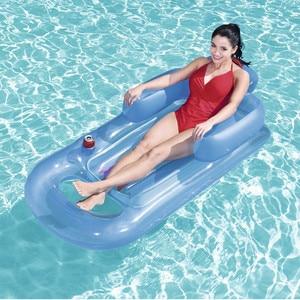Image 2 - Yaz yüzme şişme yüzen yatak havuz şezlong su yüzen satır arkalığı Recliner kol dayama ile bardak tutucu yetişkin için