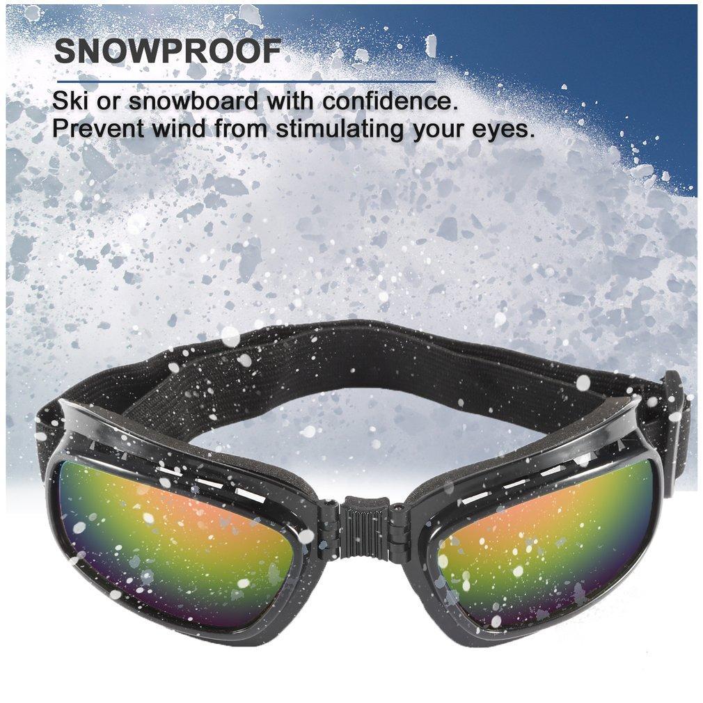 Folding Vintage Motorcycle Glasses Windproof Dustproof Ski Goggles Off Road Racing Eyewear Glasses Adjustable Elastic Band