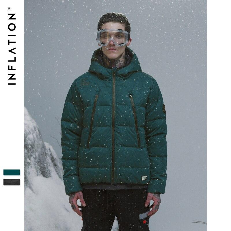 Инфляция осень зима белый утиный пух куртка мужская новая пара тонкие пальто утиный пух с капюшоном с хлопковой подкладкой однотонные парк...