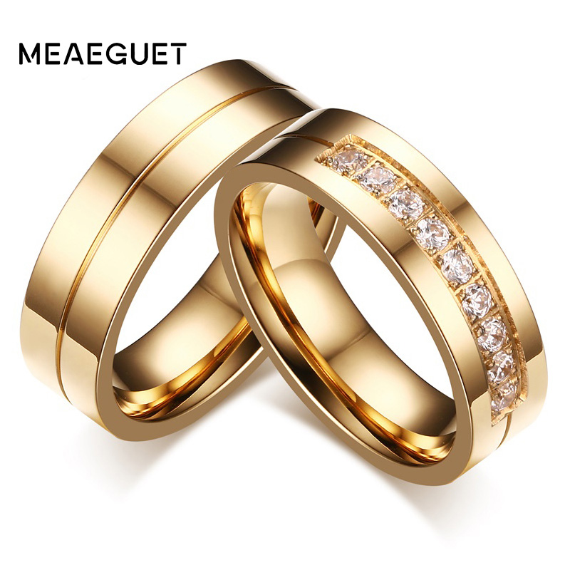 Meaeguet Gold-Color CZ Wedding Rings Lover's Cubic Zirconia Stainless Steel Romantic Ring Jewelry USA Size 2016 custom jewelry ebay hot sell men stone bezel setting cz cubic zirconia wedding band rings