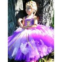 Princess Rapunzel Girl Tutu Dress Floor Length Baby Kids Lace Sofia Birthday Party Tutu Dresses Halloween Custom For Kids