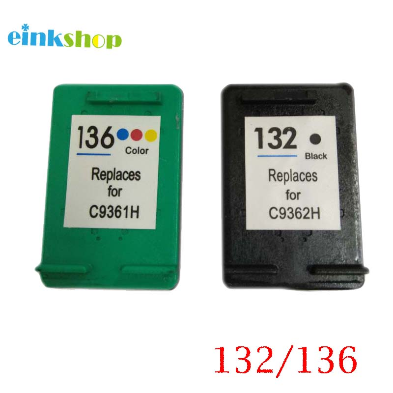 einkshop Ապրանքանիշ ՝ HP 132 136 Համատեղելի Ink Cartrid For HP Photosmart C3183 D5163 1513 C3100 Officejet 6213 5443 D4163 տպիչ