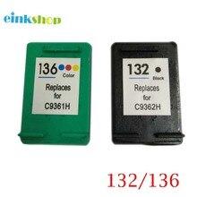 1 Set Cartridge for HP 132 136 Black & Tri-color Ink Cartridge For HP Officejet 6213 5443 D4163 Photosmart 2573 C3183 D5163 1513