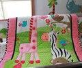 Rosa 100% algodón bordado de aves flores cebra jirafa bebé edredón bumper funda de colchón falda 7 unids cuna lecho