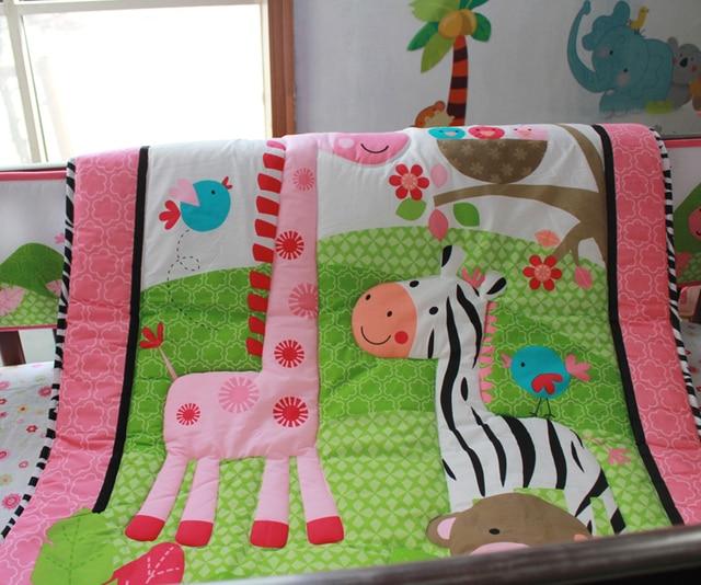 Rose 100 Coton Broderie Fleurs D Oiseaux Zebre Girafe Bebe Ensemble
