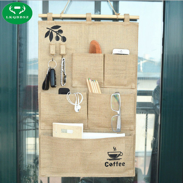 5 Pockets Organizer Jute Naturally Letters Wall Hanging Storage Bags