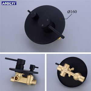"Image 4 - Brass Black Bath Shower Faucets 8 12"" Rain Shower Head Bathroom Shower Set Diverter Mixer Valve  Shower System Wall Mounted"