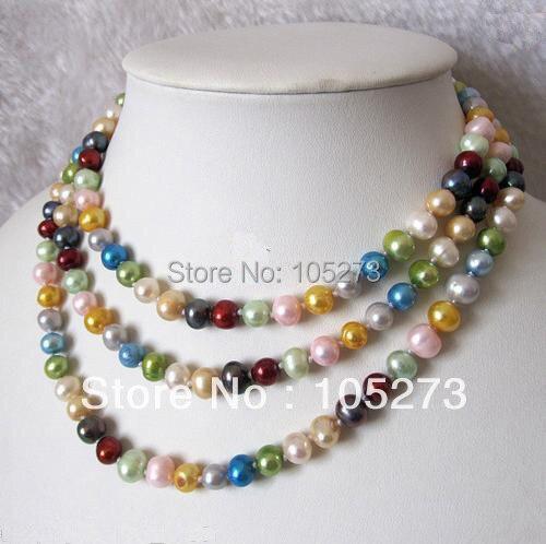 Nouveau Arriver bijoux en perles 48 ''7-8 MM Multi couleur naturelle perle d'eau douce collier fête mariage bijoux offre spéciale livraison gratuite