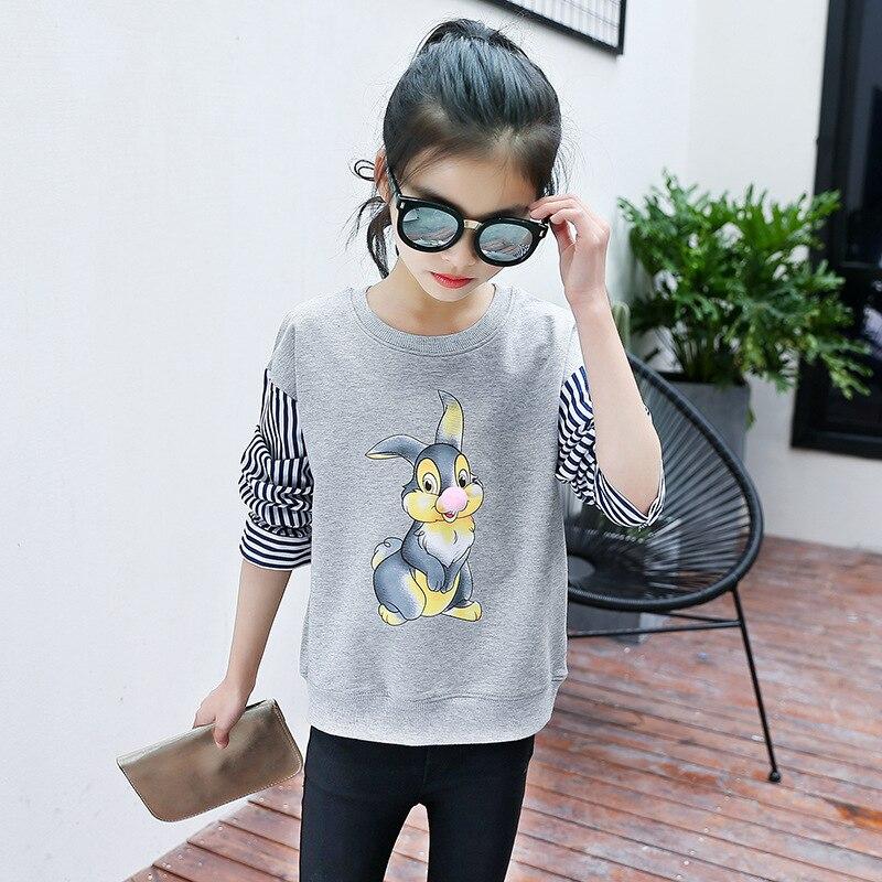 Fall 2017 New Fashion Girls Cuhk T-shirt Cartoon Girls Garment Fleece T Shirt