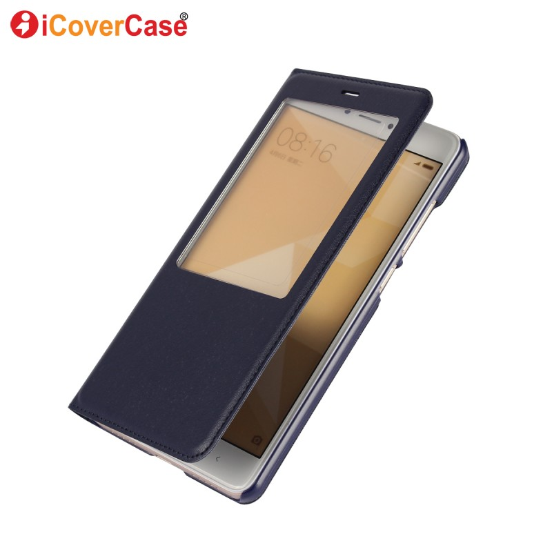 För Xiaomi Redmi Note 4 Case Flip Leather Wallet Phone Accessory Window View Cover för Xiaomi Redmi Note 4 4X Coque Hoesjes Etui