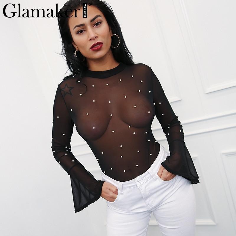 Glamaker Pearl mesh transparent sexy bodysuit Women flare sleeve summer jumpsuit romper Female streetwear black elegant bodysuit