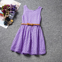 Summer Korean Style Girls Cloths Lace Sleeveless Dress With Flower Bow Dress For Girls And Infant