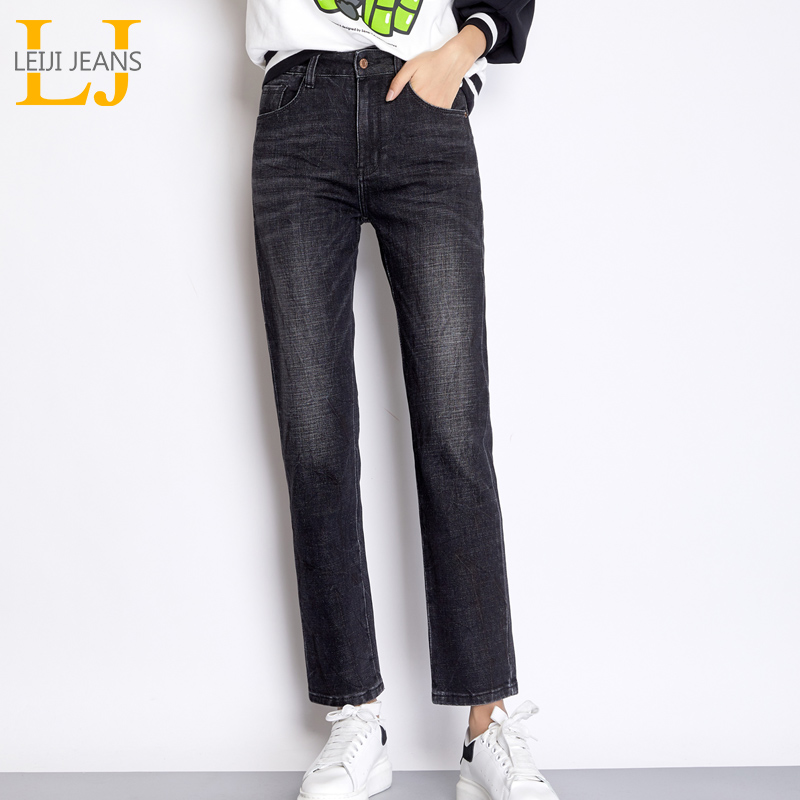 LEIJIJEANS 2019 New Arrival Autumn High Street Style Bleached Black Grey Pants Plus Size L Loose Straight   Jeans   For Women 7112
