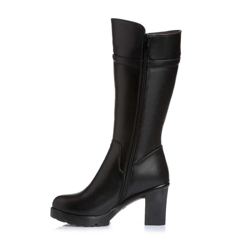GKTINOO Hoge Kwaliteit Knie Hoge Laarzen Vrouwen Lederen Winter Laarzen Comfortabel Warm Bont Vrouwen Lange Laarzen Hoge Hakken Schoenen