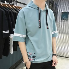 Men's Casual High Street Letter Print T Shirt  Summer Hoodies Hip Hop Have Cap Pocket Half Sleeve Top Tees T-Shirt Fashion Male contrast letter print pocket camo t shirt