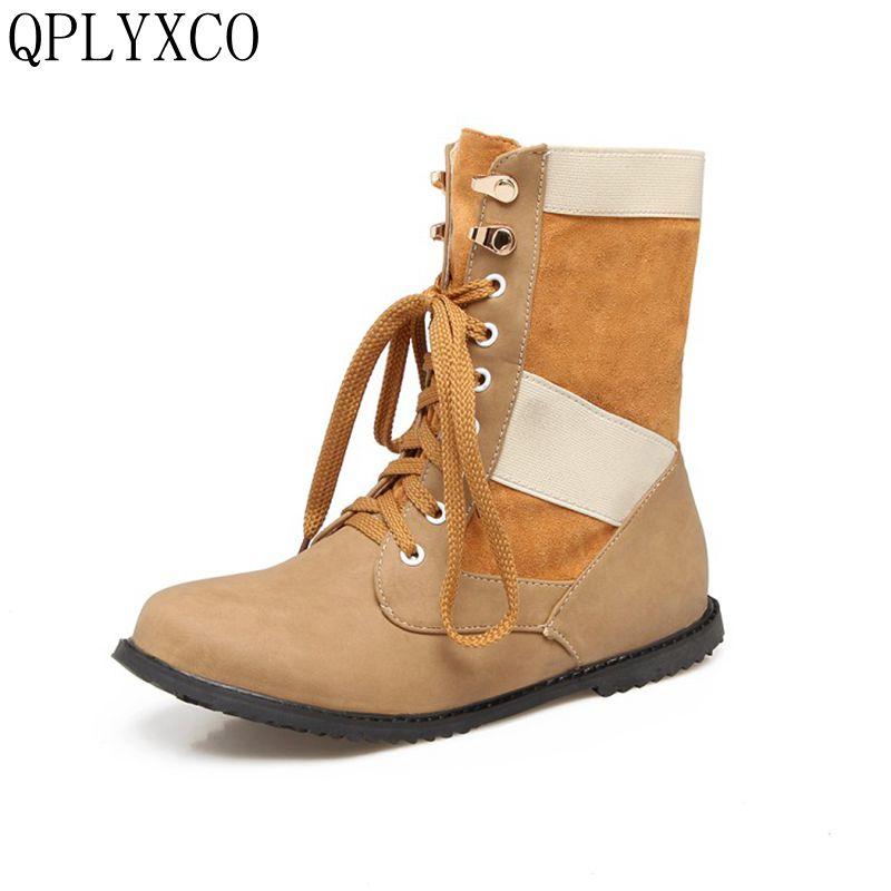 QPLYXCO Plush boots shoes Woman Super Big size 34-52 warm Winter Boots tenis feminino flat Heels causal Lace up women shoes 1731