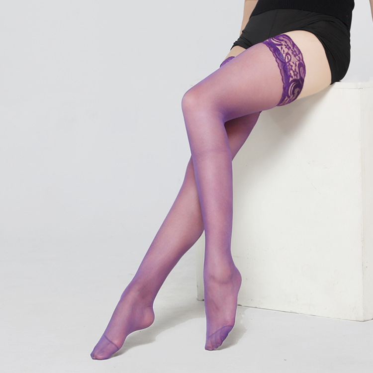 7 colors Thigh High Sexy Stockings Lace Silicone Stay Up Transparent ... ba2669d9b