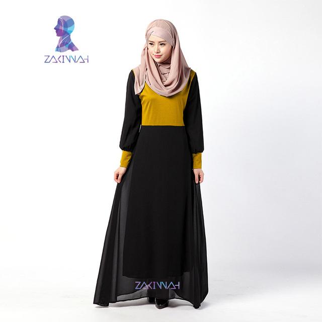 Top Moda de Manga Larga Vestido de Gasa Hermosa Ropa Islámica para Las Mujeres Abaya Musulmán Ropa de Pavo