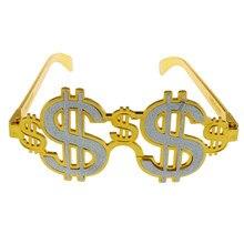 Gafas de disfraz doradas con diseño de dólar americano, gafas de fiesta novedosas, gafas para Cosplay, accesorios para fotos