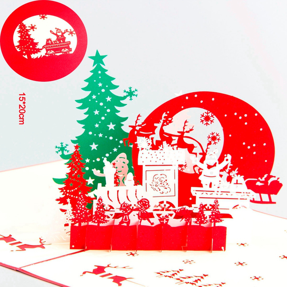 Christmas Eve 3D laser cut pop up paper pop up handmade postcards custom greeting cards gifts for lover party supplies 1box lot christmas gift christmas season organ folding christmas cards paper crafts scrapbooking cards gifts decoraiton