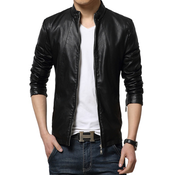 PU Jaqueta De Couro Masculina Nice Tideway Korean Slim Fit Stand Collar Faux Leather Jacket Men Fashion Plus Size Man Coat