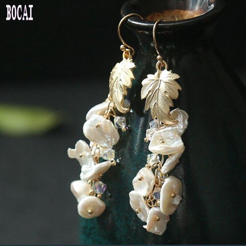 Handmade original natural shaped pearls gold leaves long section ear hook earrings 2019 women's fashion silver earrings