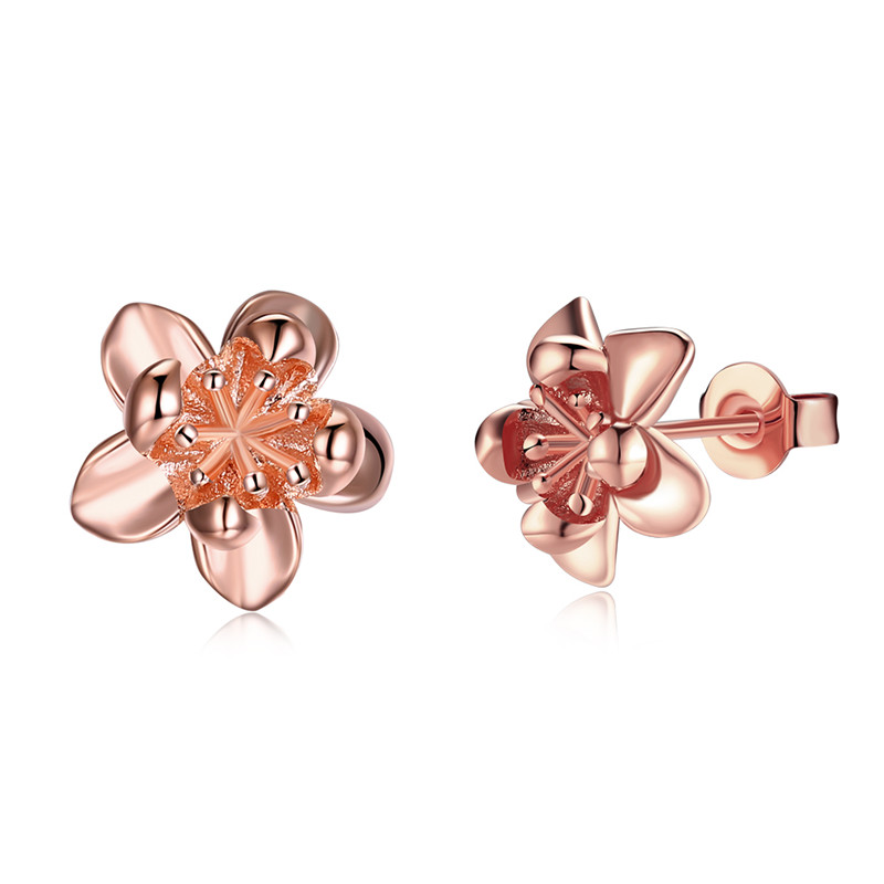 2017 Korean Minimalist Gold Earrings For Girl Friend Cute Rose ...