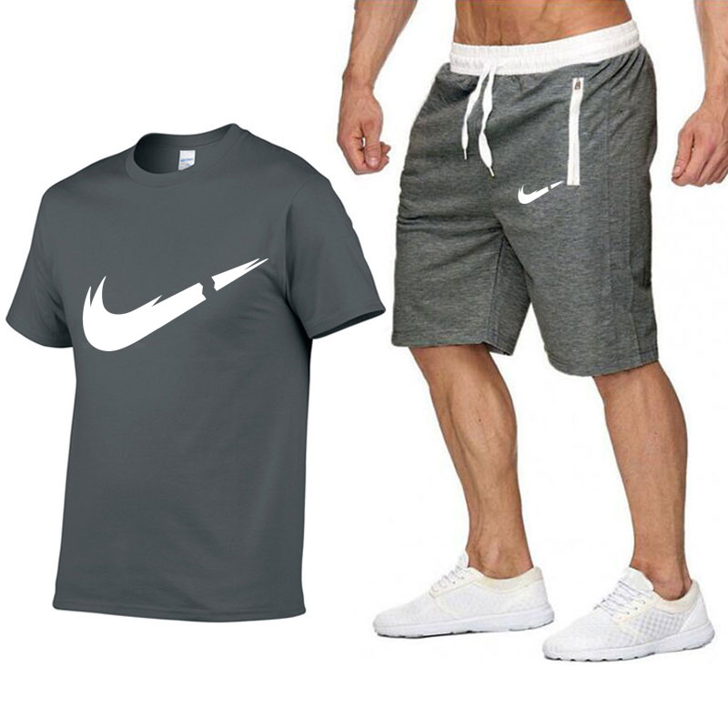 2019 brand T-shirt men's fashion summer cotton short-sleeved sports suit T-shirt + shorts men's 2 sets(China)