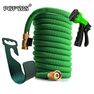 Image 1 - 50ft 1 set of new high quality garden hose automatic telescopic magic hose gardening tools and equipment 8 function water gun