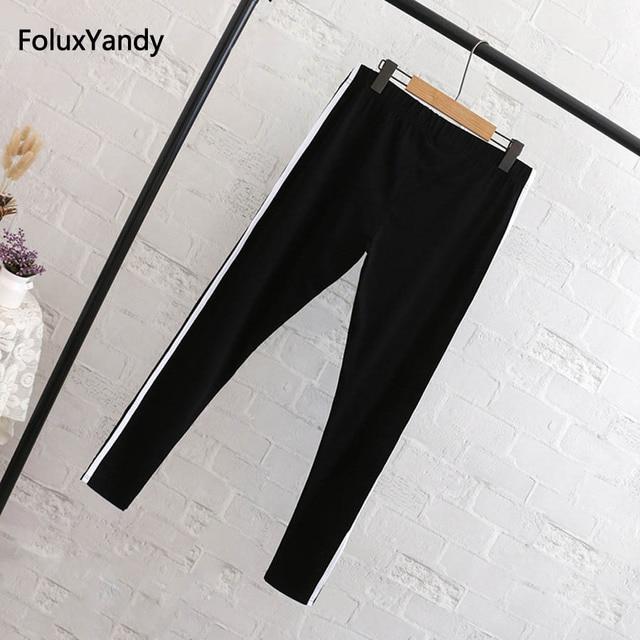 Striped Leggings Women Plus Size 3 4 5 6 XL Casual Cotton Slim Skinny Bodycon Leggings Black QYL217