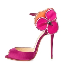 Hot Pink Women Pumps Peep Toe Stilettos High Heels Shallow Flowers Side Summer Ankle Strap Ladies Shoes Chaussure Femme