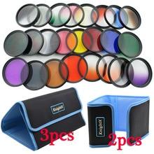 KnightX 24 pcs Color Lens graduated Filter Red ND For Canon nikon d3200 d3300 d5500 d5300 1200D 750D Camera 52MM 58MM 52 58 mm