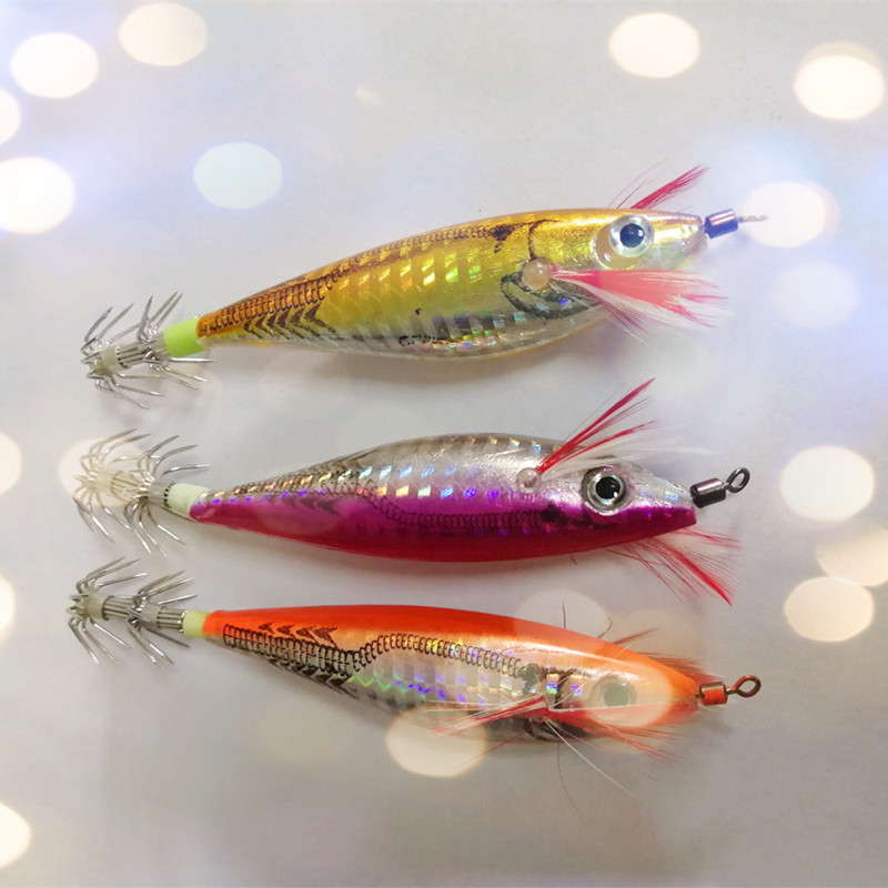 Squid Jig Hook Fishing Lure Seawater Fishing Bait Artificial Lures 10cm/10g Fluorescent Shrimp 1 Piece Sale