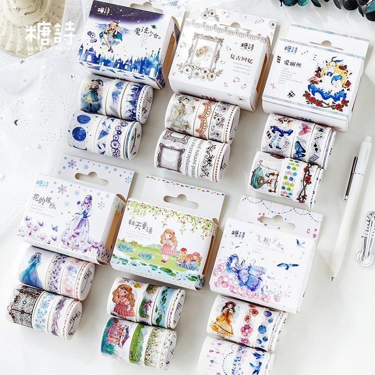 8 Pcs/pack Autumn Fairy Tale Decorative Washi Tape Adhesive Tape Diy Scrapbooking Sticker Label Masking Tape