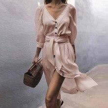 Fashion Women White Long Dress Deep V Neck Button Down Split Midi Dress Summer Half Sleeve Party Dress Vestidos