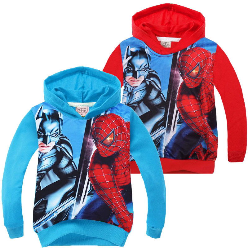 Hotsale New 2016 Kids Boys Hooded Outwear Long Sleeve Cotton Sweatshirt Children Spider Pattern Fashion Boys Hoodies Coat 3-8Y