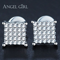 Angel Girl 2017 Popular jewelry Square cut 6MM Shiny Austrian Cubic Zirconia Stud Earrings with White Gold Plated for Woman gift