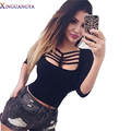 XINGUANGYA 2017 T-shirts for women 3/4 Sleeve Lace Up Tee Fashion Hollow Out Tops Female T-shirt Solid Basic Women's Shirt Tee
