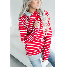 woman hoodies sweatshirts ladies autumn winter 2019 striped holiday  sports elegance clothing sweat shirts